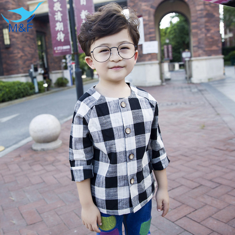 M F Spring Boys T shirts Baby Black Plaid T shirts Long Sleeve Cotton Kids Tops