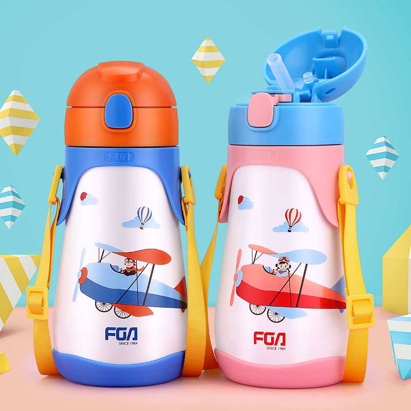 430ML Stainless Steel Baby Sippy Bottle Children Milk Thermos with Straw Portable Cartoon Straps Vacuum Flask Baby Training Cup 240ml baby trainer feeding bottle straw cup baby kids children drinking bottle sippy cups with handles