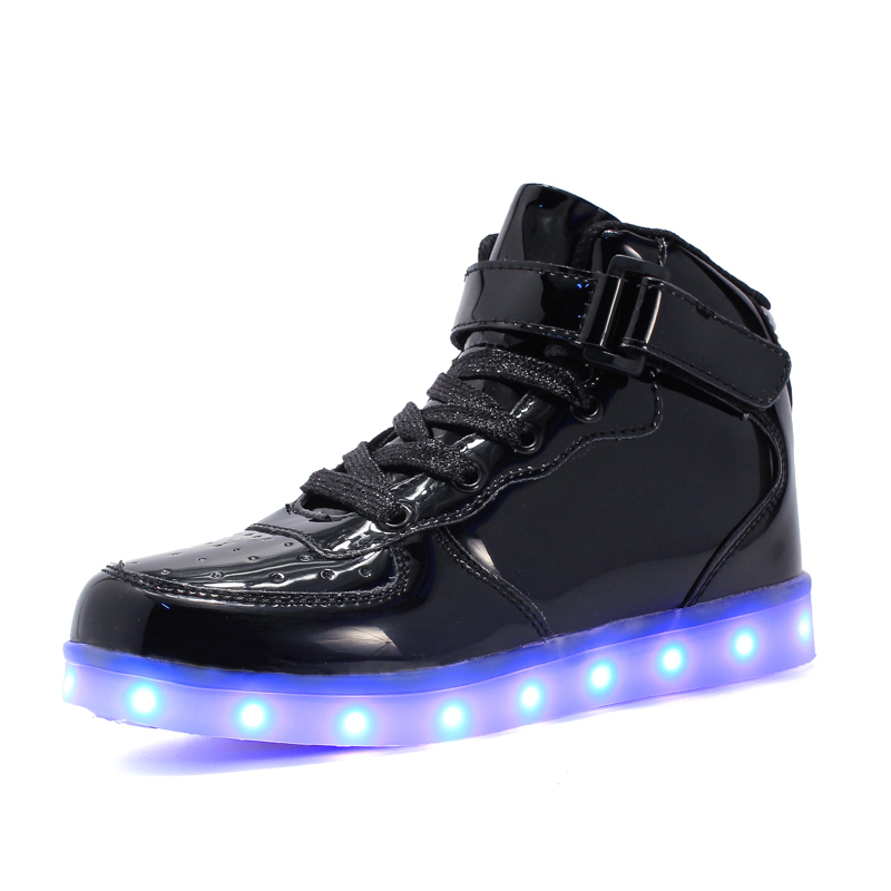 Led Children Shoes Black New USB Charging Basket Shoes With Light Up Kids Casual Boys&Girls Luminous Sneakers Glowing Shoe Pink new 7 color led glowing sneakers casual kids shoes for boys girls shoes fashion casual light up sneakers with luminous sole