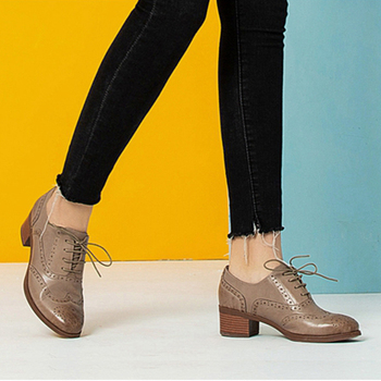 Yinzo Women genuine leather shoes woman laces thick heel pumps yinzo oxford handmade brogues 2020 lady summer