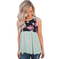 YSMARKET S XXL Summer Sleeveless Tank Top Cropped For Women 2017 Fashion Floral And Striped Casual