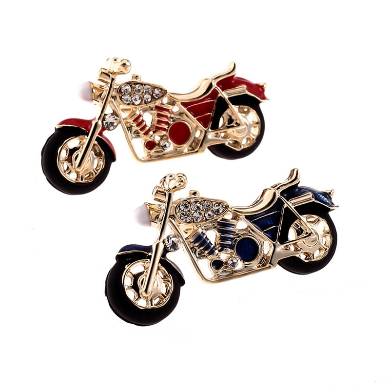 Motorcycle Brooch Gold-color Red Enamel Brooches Girls Kids Gifts Jewelry Suit Collar Sweater Accessories Pins Free Shipping