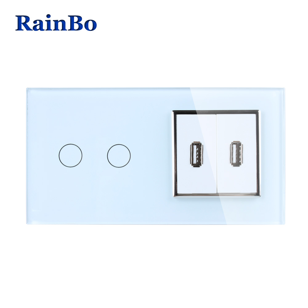 RainBo Touch Screen Control Tempered Crystal Glass Panel Wall Light  Touch Switch Socket Wall Power USB Socket A29218E2USCW/B rainbo crystal glass panel switch eu remote control wall switch ac250v touch switch light switch 2gang1way led lamp a1923w br01