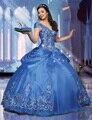 Romântico Azul Bordado Quinceanera Vestidos Sexy Decote Em V Cap Manga Curta Cinderela Quinceanera Vestidos
