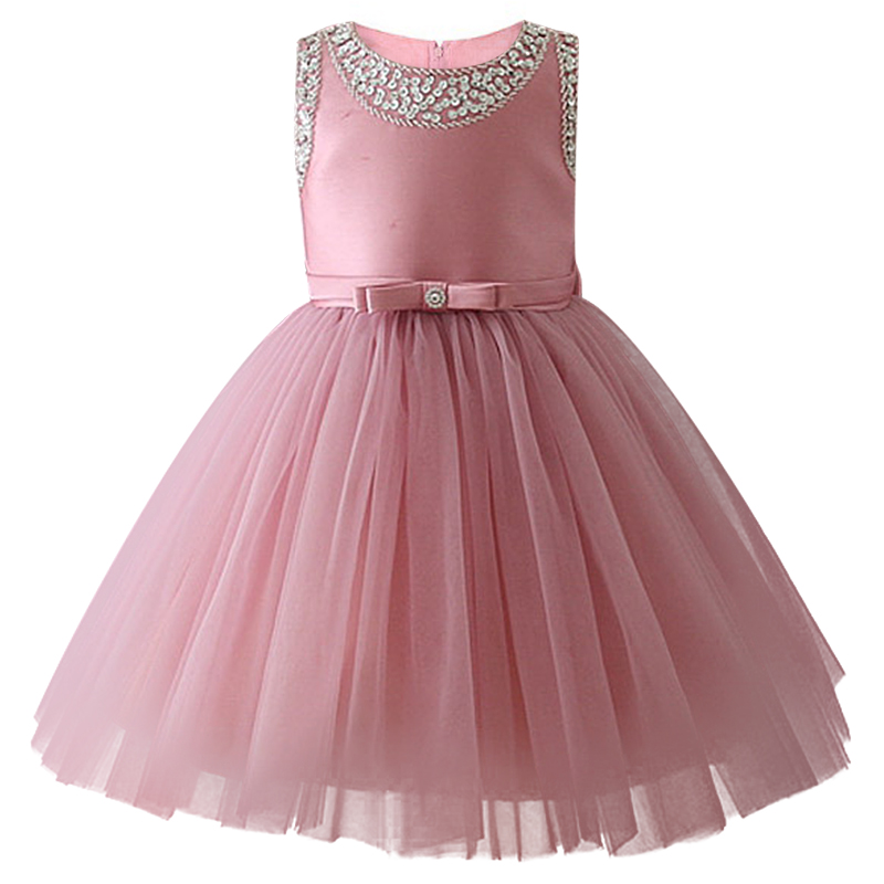 Fashionable New Flower Child Princess Wedding Party Beauty Show Dress Girl's First Beaded Crepe Dress For The Banquet