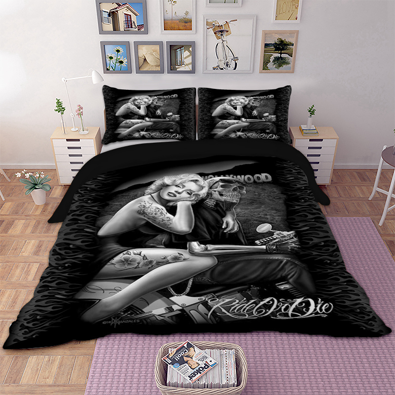 3d Marilyn Monroe skull Motorcycle Bedding set Duvet Cover Bed Set Twin queen king size home textile