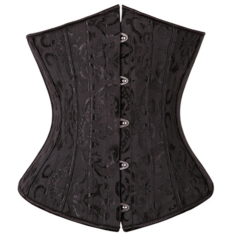 X 28 Steel Boned Waist Cincher   Corsets   and   Bustiers     Corset   Underbust Gothic Corselet Sexy Body Shaper Black White espartilho