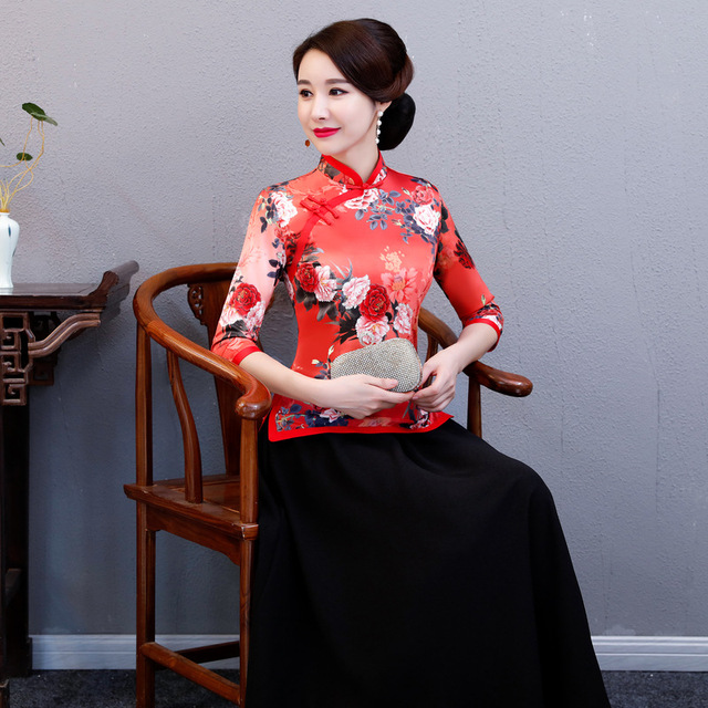 Clic Red Print Flower Chinese Women Wedding Shirt Elegant Evening Clothing Traditional Stage Show Clothes Casual