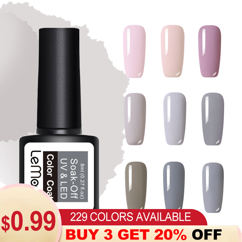 LEMOOC 8ml  Series Nail Gel Polish Pink Gray Series 50 Pure Colors Soak Off LED UV Gel Varnish Long Lasting Nail Art Lacquer