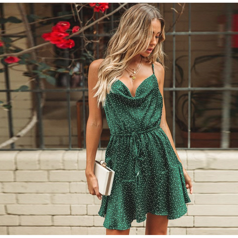 Women Summer Dress 2019 New Green with Dot Sexy Strap Dresses for Lady Beach Holiday Mini Sleevless