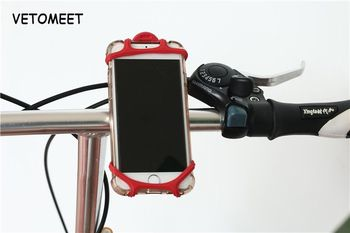 VETOMEET Bicycle Motorcycle Mobile Phone holder Silicone For 4 6 inch Bike Handlebar Clip GPS Mount