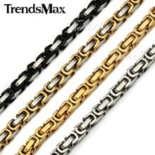 Trendsmax 18-36 pulgadas 5mm Enchapado En Oro Cadena Bizantina Caja KNM15 Muchachos Para Hombre Collar de La Joyería de Cadena de Acero Inoxidable