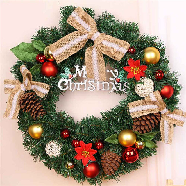 2018 merry christmas decoration products harvest fruit christmas wreath hanging christmas tree ornament lace bow accessories