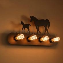 Промышленного чердак настенные эдисон лампы стены светильник лошадь украшение железа старинные бар / кафе освещение
