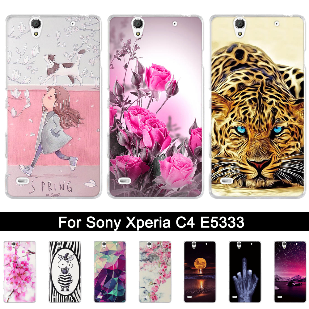 Soft TPU Case for <font><b>Sony</b></font> <font><b>Xperia</b></font> C4 <font><b>E5333</b></font> E5303 E5306 Silicone Back Phone Cover for <font><b>sony</b></font> <font><b>xperia</b></font> c 4 Print Shells Bags Fundas Coque image