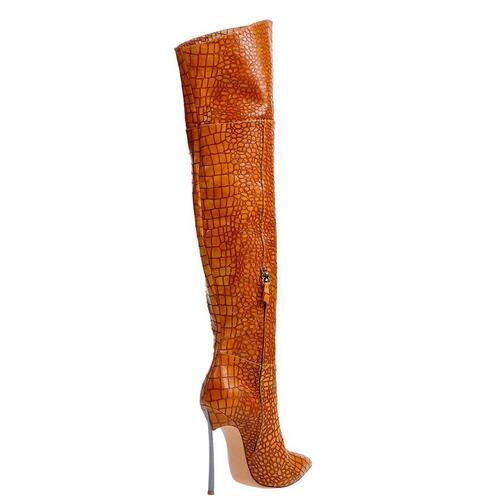 Sexy Brand Croco Pattern Leather Silver-tone Metal Heel Over the Knee Boots Blade Heel Pointed Toe Thigh High Booty Black Brown шатура пуф бегемот croco dk brown kvs218 темн корич