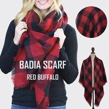 Зимнее женское горячее шикарное вязаное Красное Клетчатое одеяло буйвола шарф большого размера теплое акриловое клетчатое Красное и черное одеяло накидка шаль