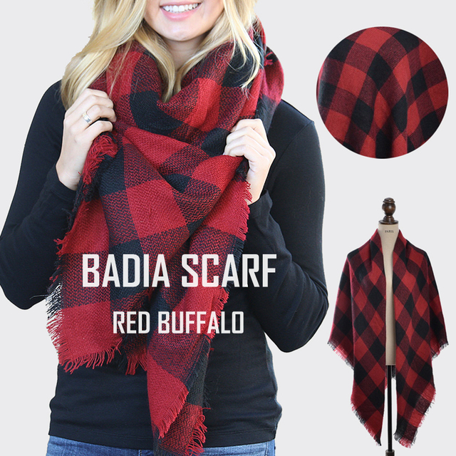 Winter women hot chic knit red buffalo plaid blanket scarf oversize warm  acrylic check red and black blanket cape shawl 07eafef7ac69