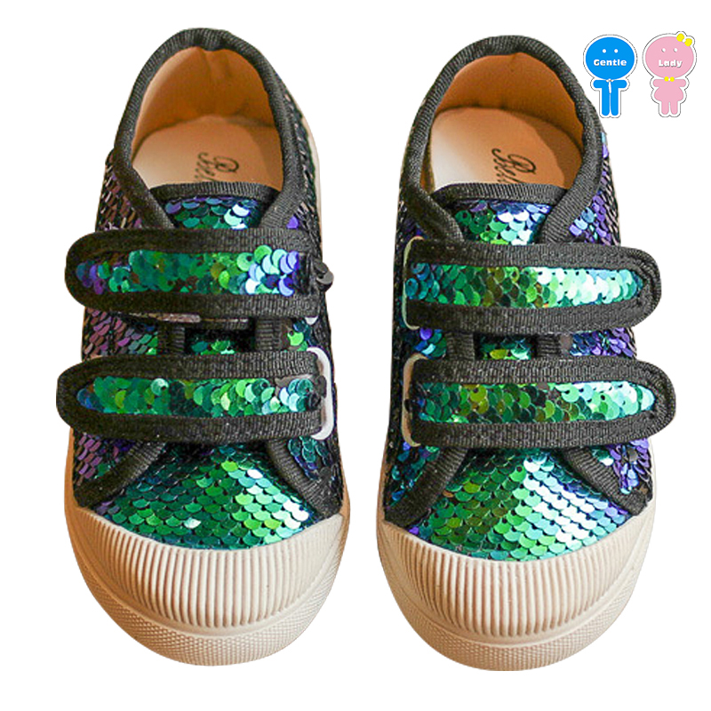 Spring fall bling glitter sequin hook loop boys casual flats girls skate shoes kid shoes children 13.5-18.5cm