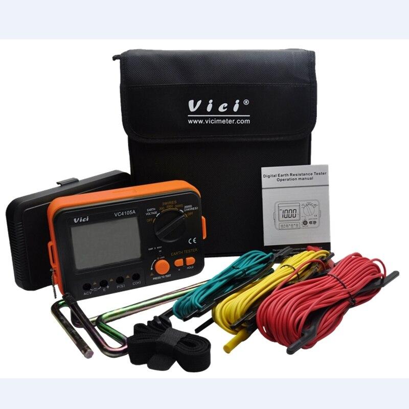LCD numérique testeur de résistance à la terre résistance au sol compteur de tension paratonnerre outils de mesure VICI VC4105A