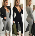 QA246 Sexy zipper V neck low cut high waist jumpsuit women bodycon long rompers overalls