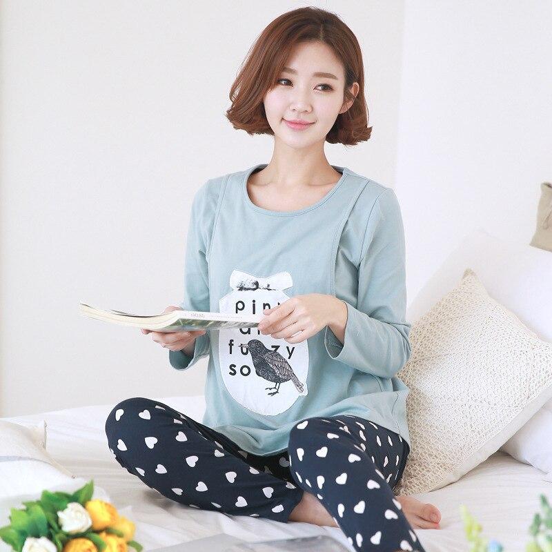 Maternity Sleepwear Autumn Cotton Nursing Pajamas Set Cute ...