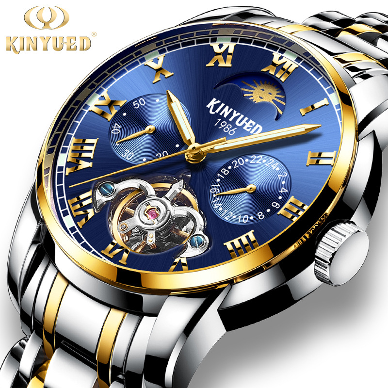 KINYUED Watch Men Luxury Waterproof Moon Phase Business Gift Mechanical Watch Men Automatic Mens Mechanical Self Wind WatchesKINYUED Watch Men Luxury Waterproof Moon Phase Business Gift Mechanical Watch Men Automatic Mens Mechanical Self Wind Watches