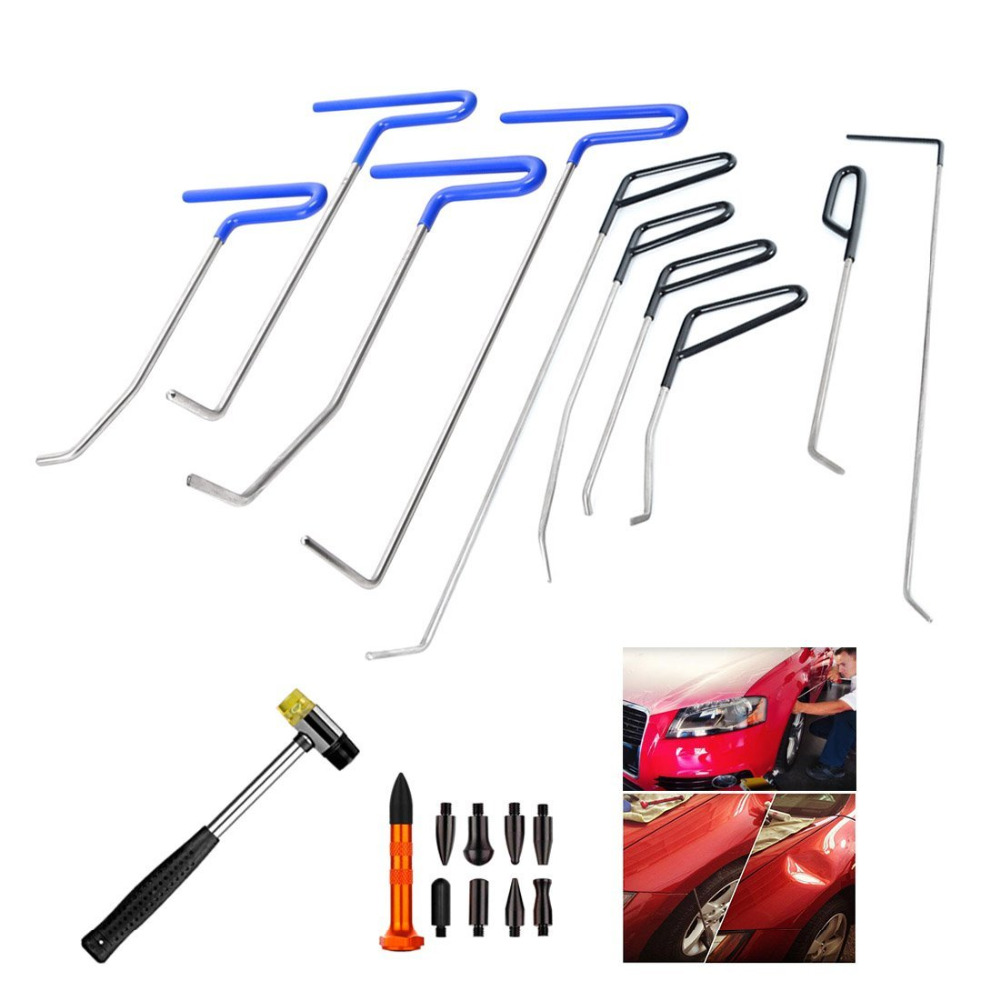 WHDZ PDR Rods Auto Body Dent Removal Tools 10pcs Auto Car Body Paintless Dent Repair Dent Puller Dent Hammer Tap Down цена