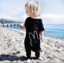 High quality baby boy baby girl clothes summer unisex baby clothes sets Cartoon rabbit black Baby Romper