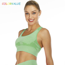 Colorvalue New Camo Seamless Gym Sports Bra Top Women Wireless Racerback Workout Fitness Bras High Support Yoga Crop