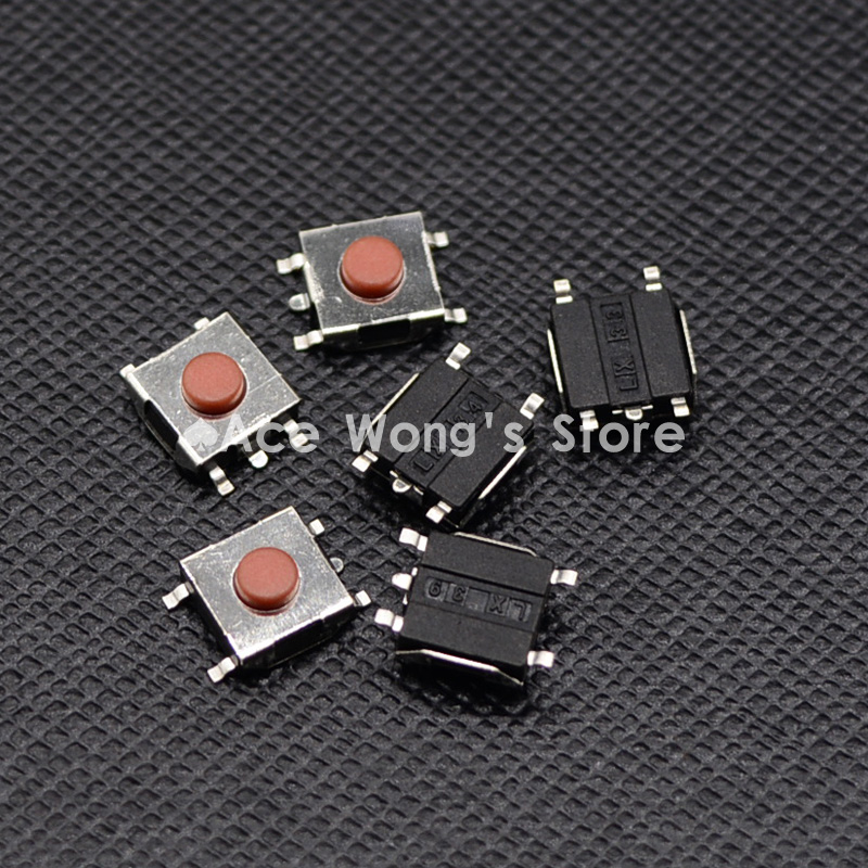 Free shipping 100PCS SMD 5Pin 6X6X3.1MM Red Tactile Tact Push Button Micro Switch Momentary 50pcs lot 6x6x4 3mm 4pin smt g88 tactile tact push button micro switch self reset dip top copper free shipping