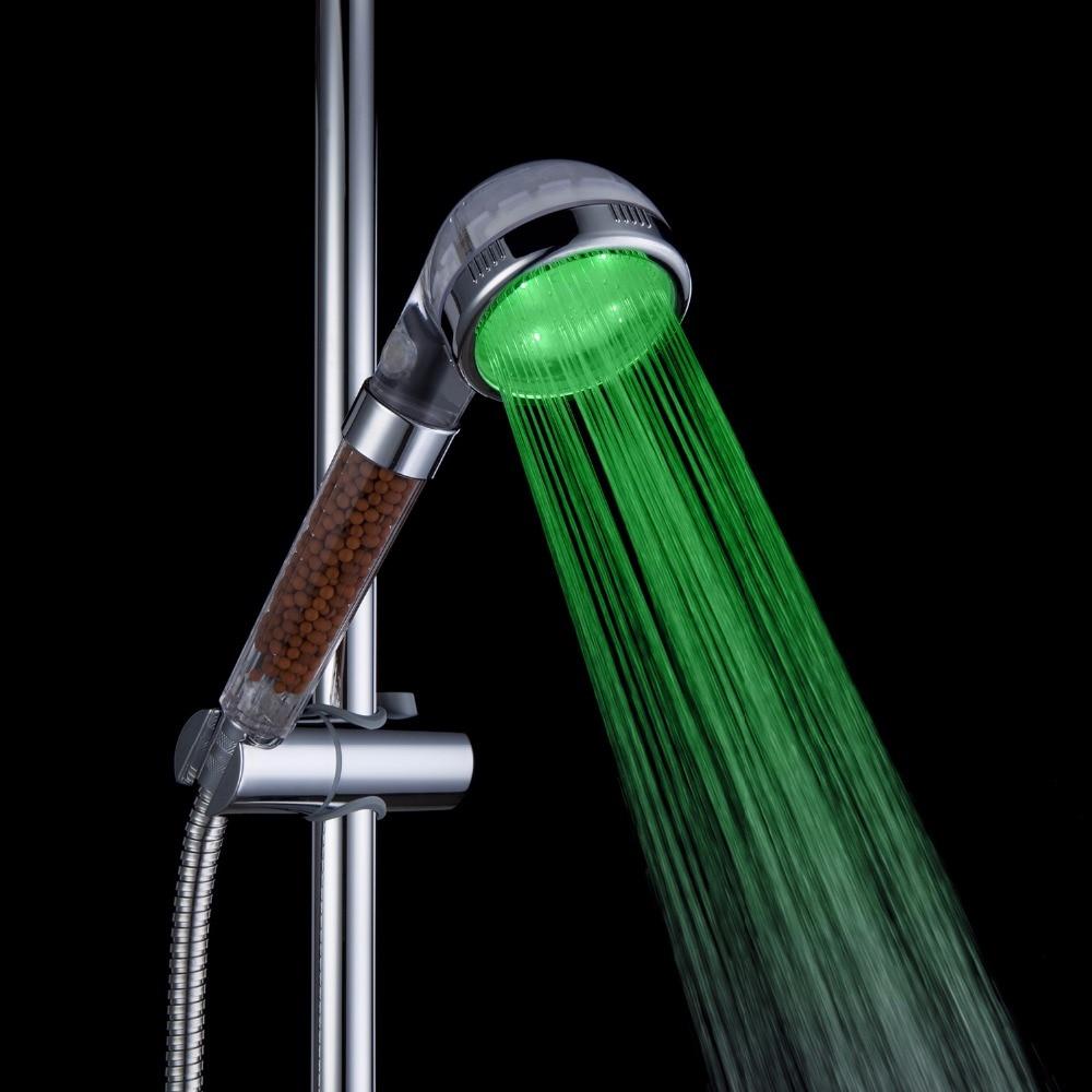 Förderung! LED Dusche-kopf-sprenger Negative Ionen Anion Temperatursensor RGB Farbe