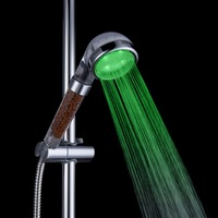 Promotion LED Shower Head Sprinkler Negative Ions Anion Temperature Sensor RGB Color
