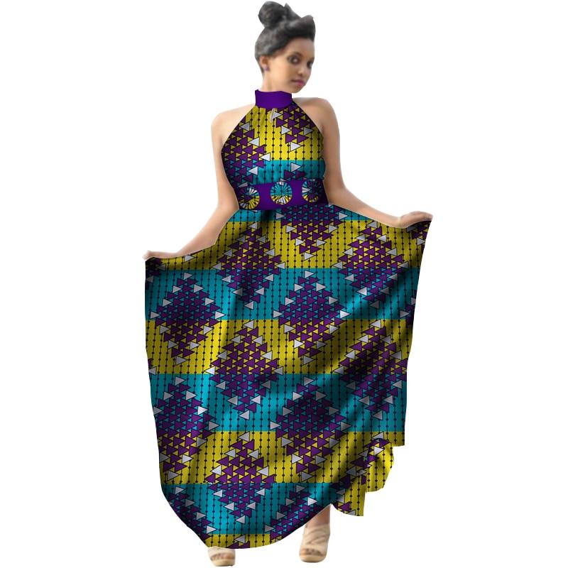 Été 2018 afrique imprimer cire femmes robe licou longue robe grande taille vêtements africains Bazin Riche robe pour dame WY2953 - 2
