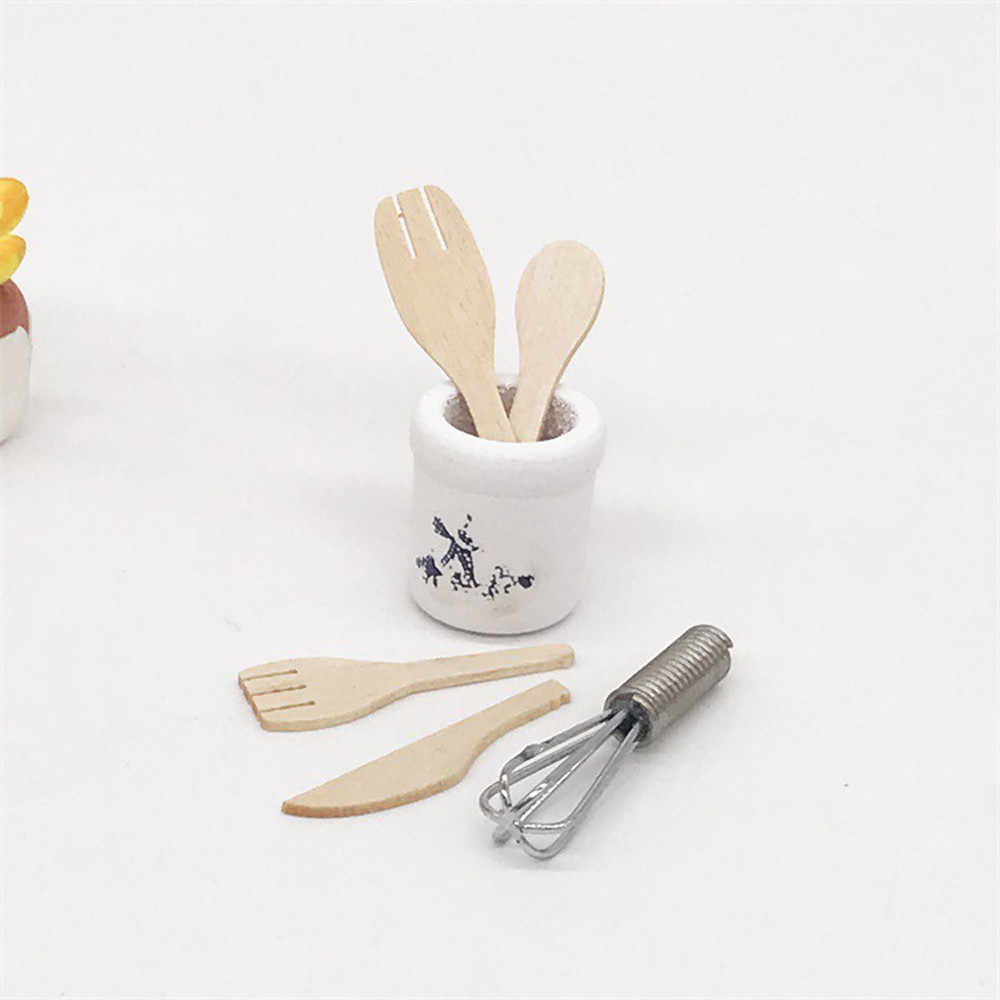 1:12 Dollhouse Wooden Kitchen Fork Metal Whisk Jar Set Miniature Furniture Room Doll Decoration collection Kids pretend Toy C605