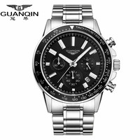 GUANQIN Watch Mens Watches Top Brand Luxury Business Stainless Steel Quartz Watch Male Sport Waterproof Clock