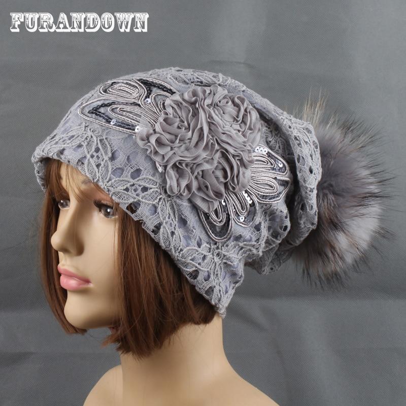 Höst Mink Päls Hattar Avtagbara Pompom Mössor Dam Mode Casual Lace Mesh Cap Bonnet Flower Hat med Liner