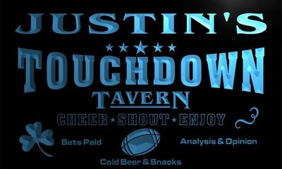 x0056-tm Justins Touchdown Tavern Bar Custom Personalized Name Neon Sign Wholesale Dropshipping On/Off Switch 7 Colors DHL
