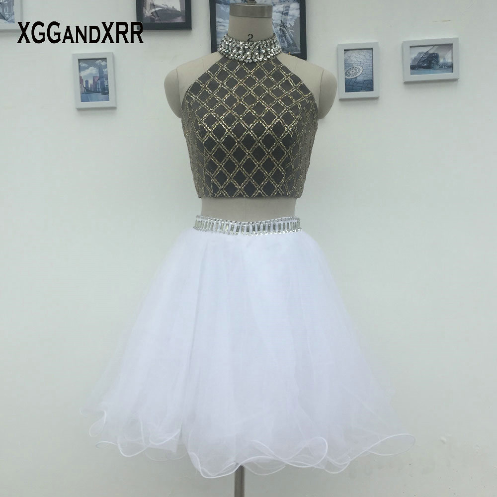XGGandXRR Crop Top Two Pieces   Prom     Dress   2018 Black and White Halter Sexy Off Shoulder Shining Beaded Girls Party   Dresses