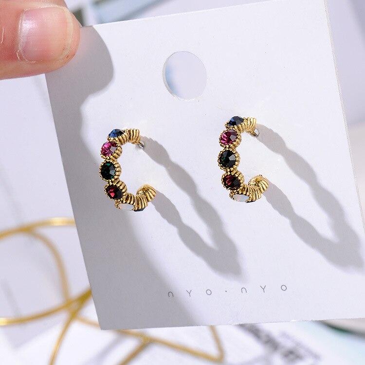 MENGJIQIAO, новинка,, винтажные цветные стразы, маленькие серьги-кольца для женщин, модные, имитация жемчуга, полукруг, Pendientes - Окраска металла: 1 line mix crystal