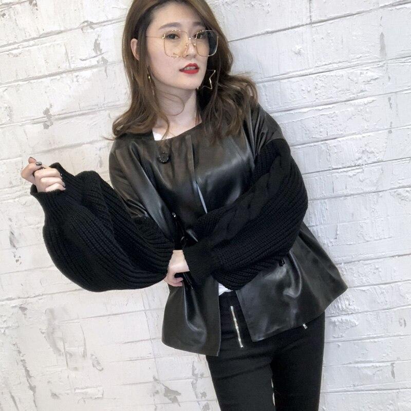 2018 nouveauté Véritable veste en cuir Femmes Noir Tricoté Manches grande taille Réel manteau en cuir en peau de Mouton veste en cuir