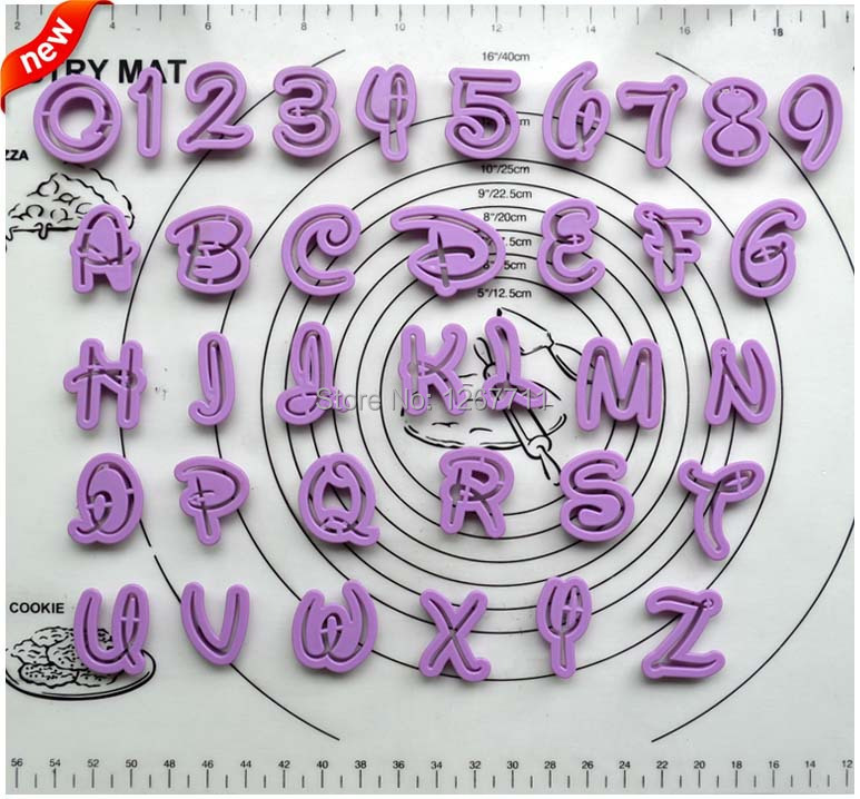 36pcs fondant cake decoration tools font alphabet cutter number letters cutter set cookie cutter free shipping