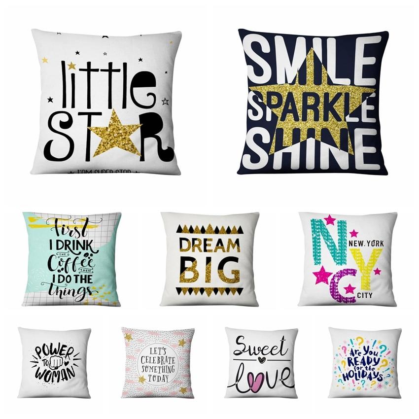 Little Star Fresh Art Illustration Printing Pillowcase Sweet Love Cushion Decorative Pillow Home Decor Sofa Throw Pillows 45*45