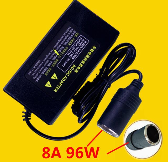96 W 8A fonte de Alimentação Do Veículo Inversor 110 V AC para 12 V DC Carro Conversor Adaptador para Carro cigarro de Alimentação Mais Leve limpeza Xícara de Leite Caneca fã