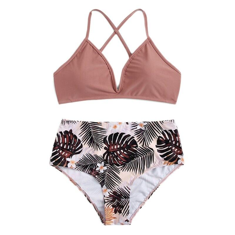 Criss Cross Top With Tropical Bottoms Bikinis Set 10