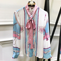 Print OL Style Silk Blouse 2017 Spring Summer Elegant Fresh Pink Bow Long Sleeve Buttons Chiffon Women Comfortable Casual Blouse