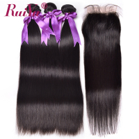 RUIYU Hair Straight Human Hair 3 Bundles With Closure Peruvian Hair Weave Bundles 4 X4 Top