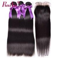 RUIYU Hair Straight Human Hair 3 Bundles With Closure Peruvian Hair Weave Bundles 4 X4 Top