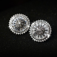 Top Quality Disc Shape Cut Cubic Zircons Stud Earrings Flat Plate With Rare Trapezoidal Luxury Engagement