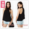 RCC Newest 2017 Chiffon after back button Sexy sleeveless blouse womens Loose halter tops tees shirts Summer